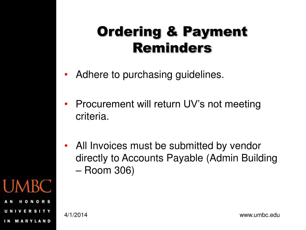 Ordering & Payment Reminders