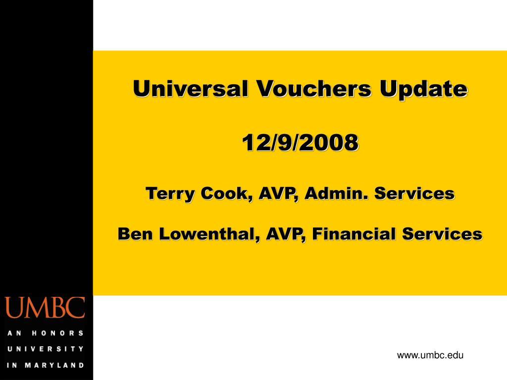Universal Vouchers Update