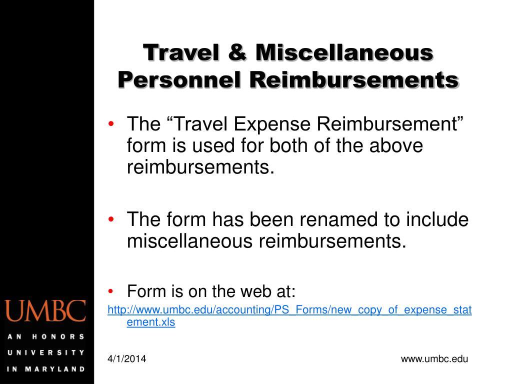 Travel & Miscellaneous Personnel Reimbursements