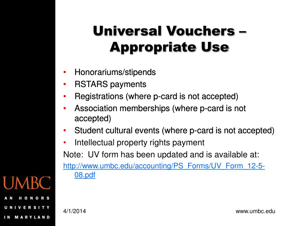 Universal Vouchers – Appropriate Use