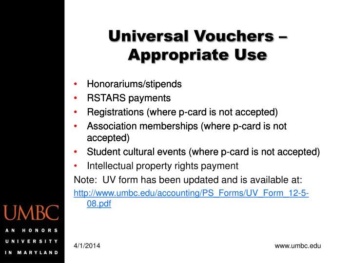 Universal vouchers appropriate use