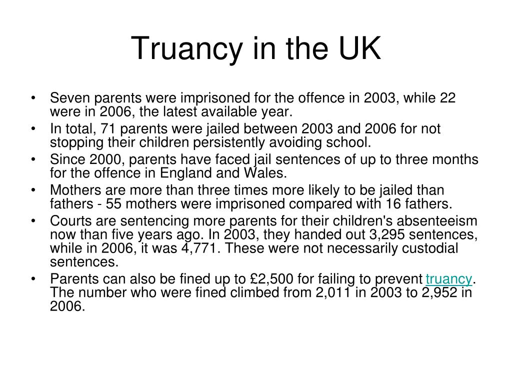 Truancy in the UK