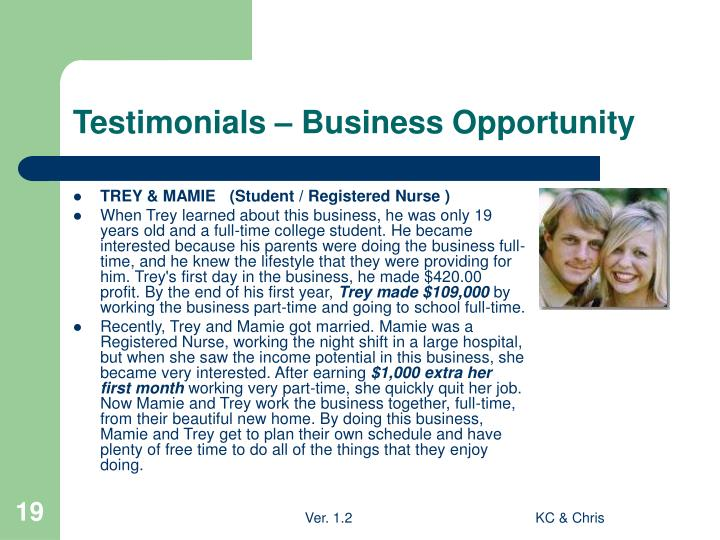 Testimonials – Business Opportunity