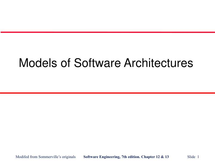 models of software architectures n.
