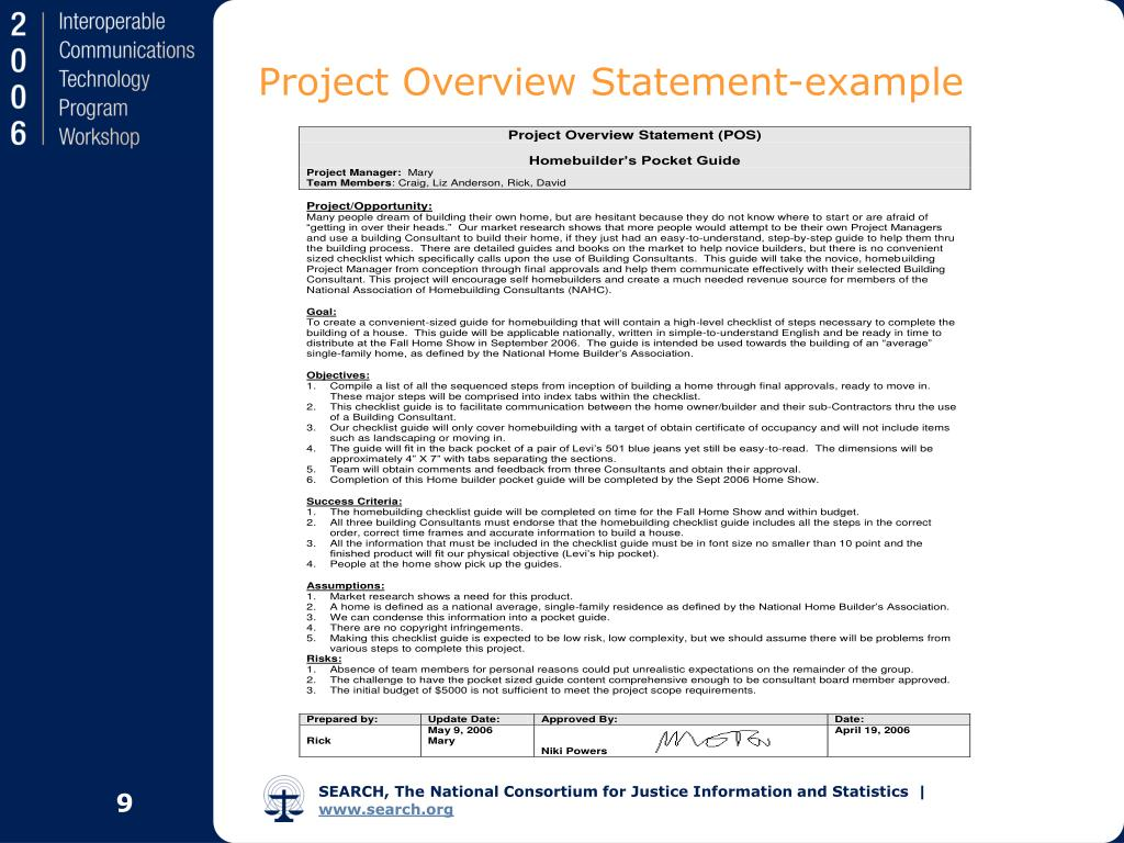 project overview statement for construction