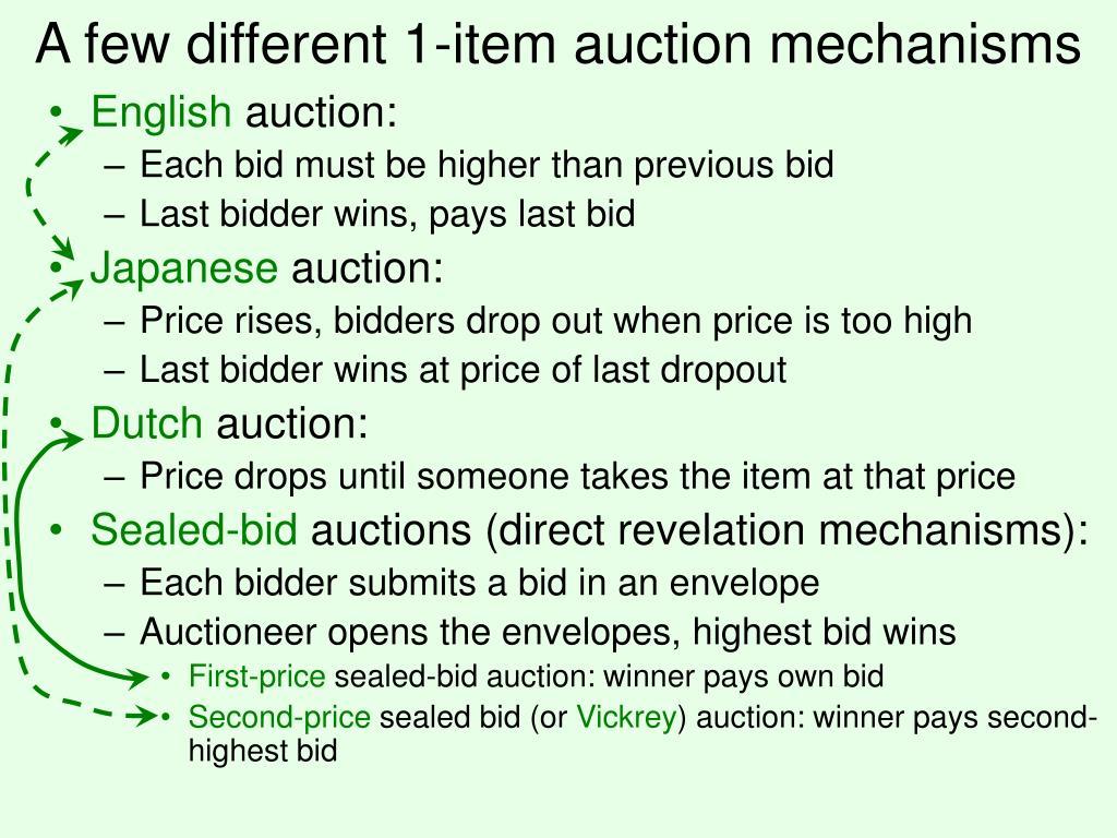 A few different 1-item auction mechanisms
