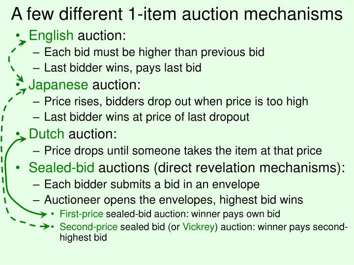 A few different 1 item auction mechanisms