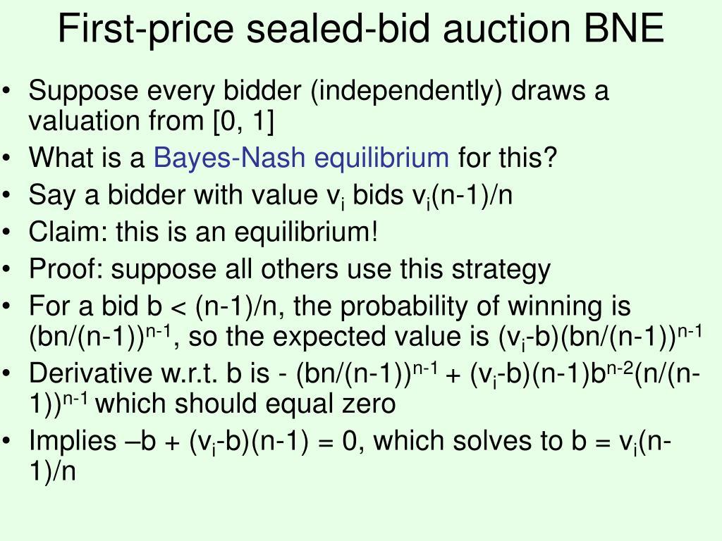 First-price sealed-bid auction BNE
