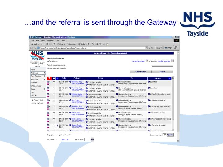 …and the referral is sent through the Gateway