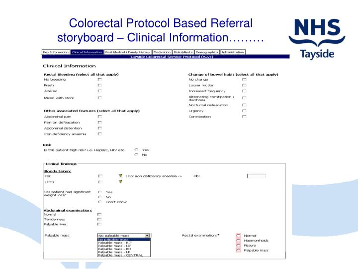Colorectal Protocol Based Referral