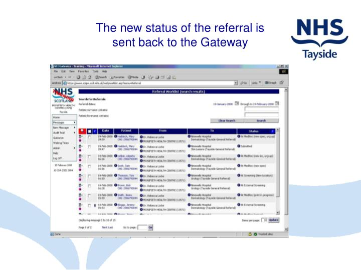 The new status of the referral is