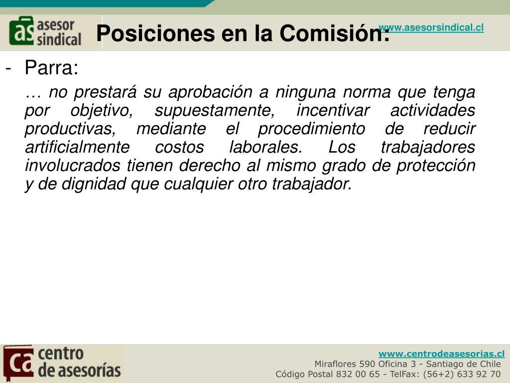 Posiciones en la Comisión: