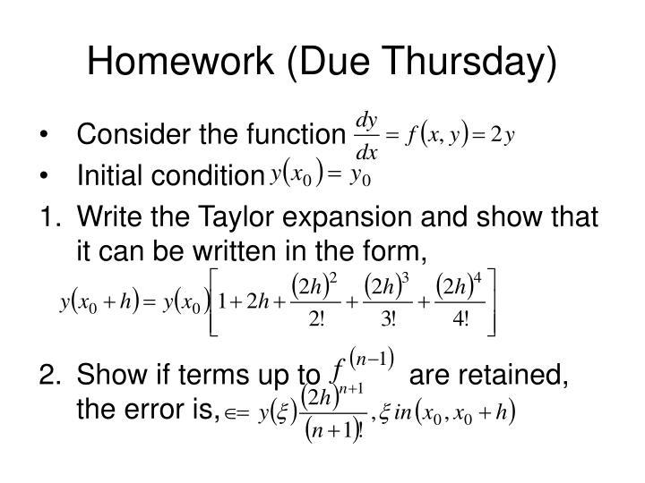 Homework (Due Thursday)