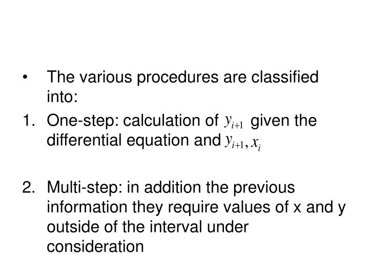 The various procedures are classified into: