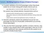 scenario identifying suspicious groups of airplane passengers