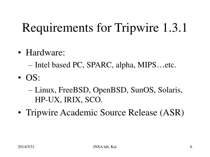 Requirements for Tripwire 1.3.1