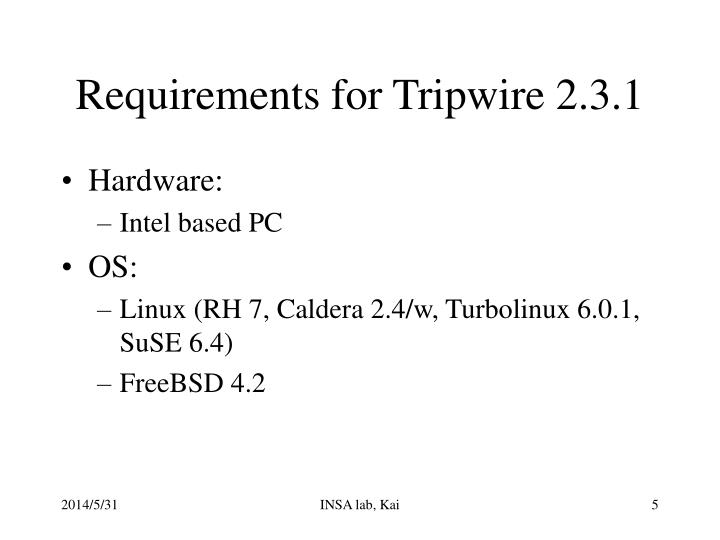 Requirements for Tripwire 2.3.1