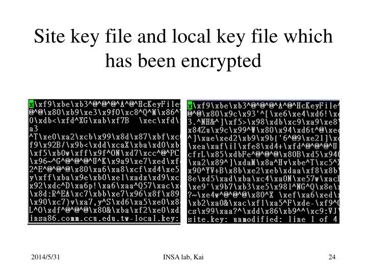 Site key file and local key file which has been encrypted
