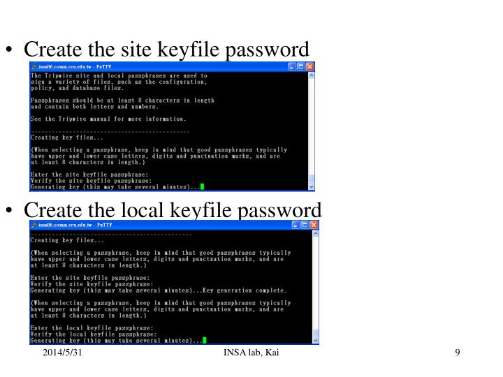 Create the site keyfile password