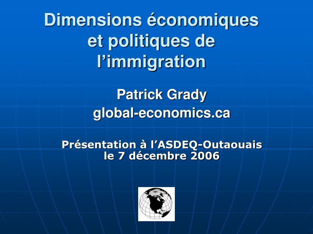 Dimensions économiques et politiques de