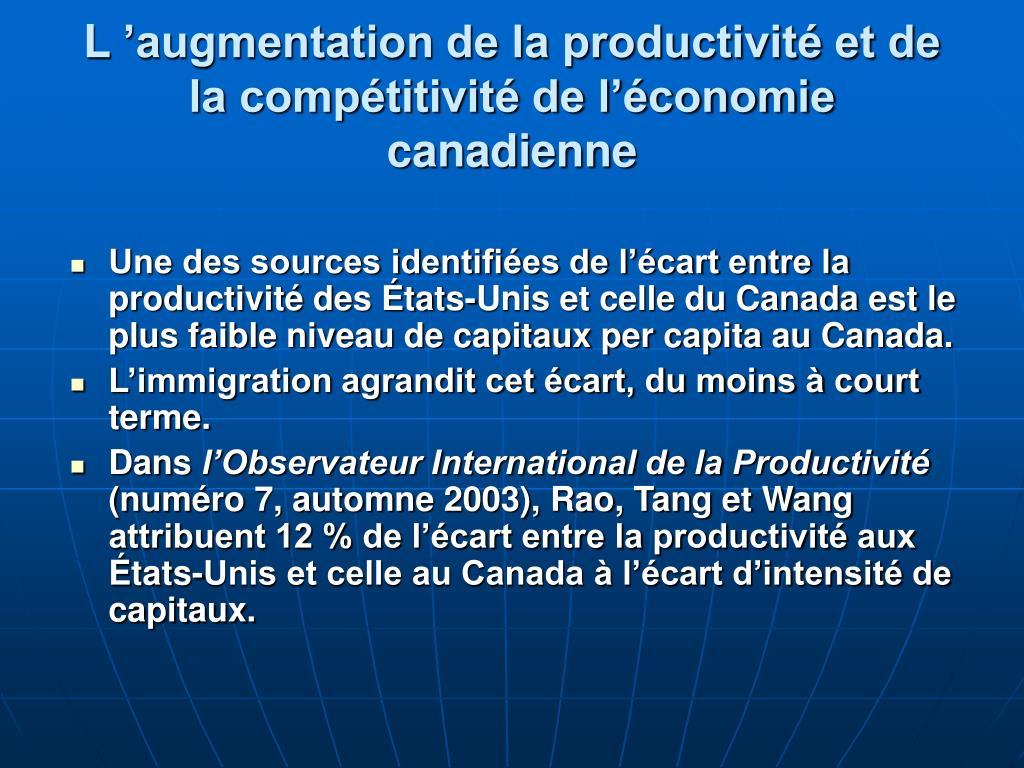 L'augmentation de la productivité et de la compétitivité de l'économie canadienne