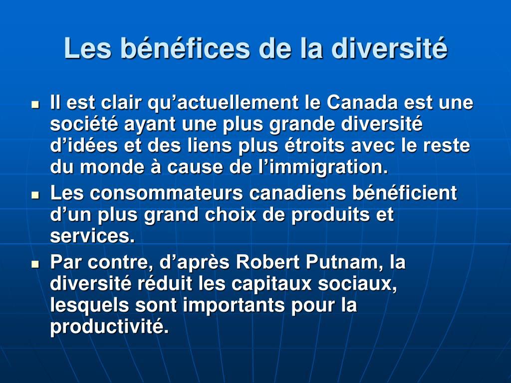 Les bénéfices de la diversité