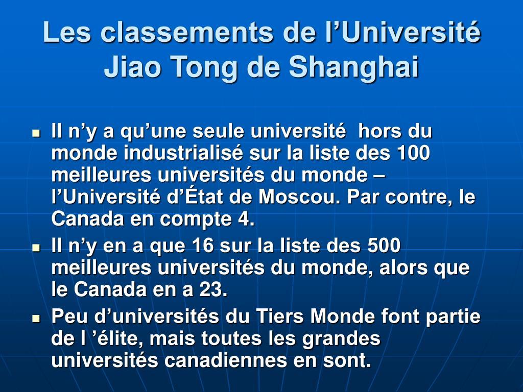 Les classements de l'Université Jiao Tong de Shanghai