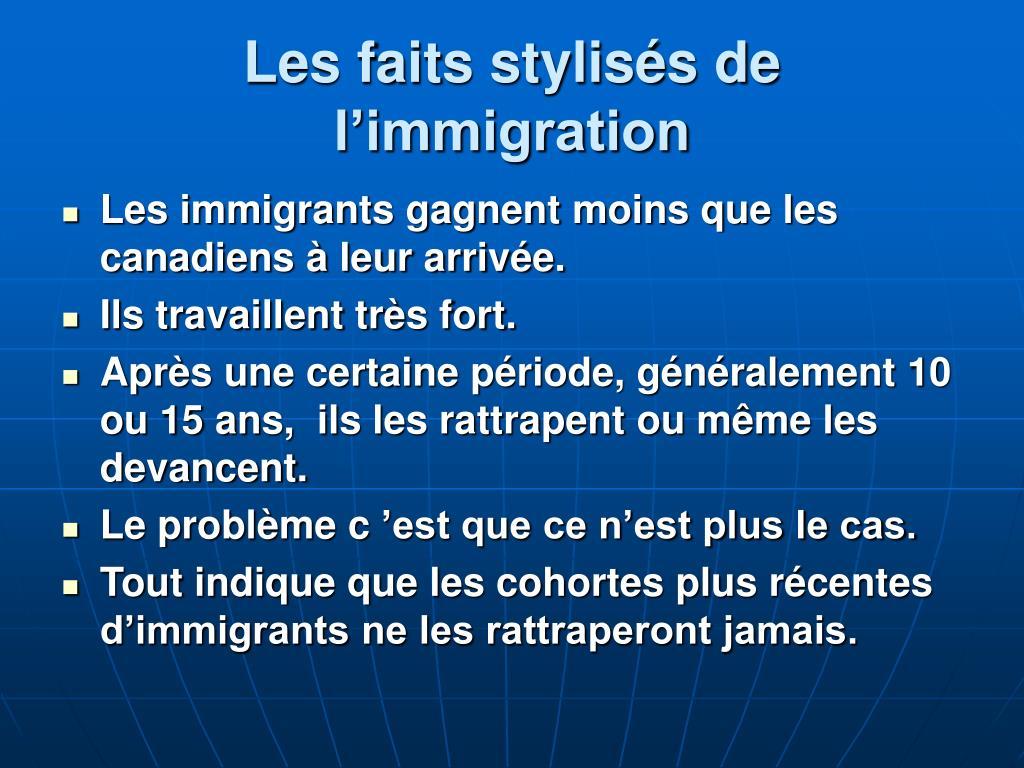 Les faits stylisés de l'immigration