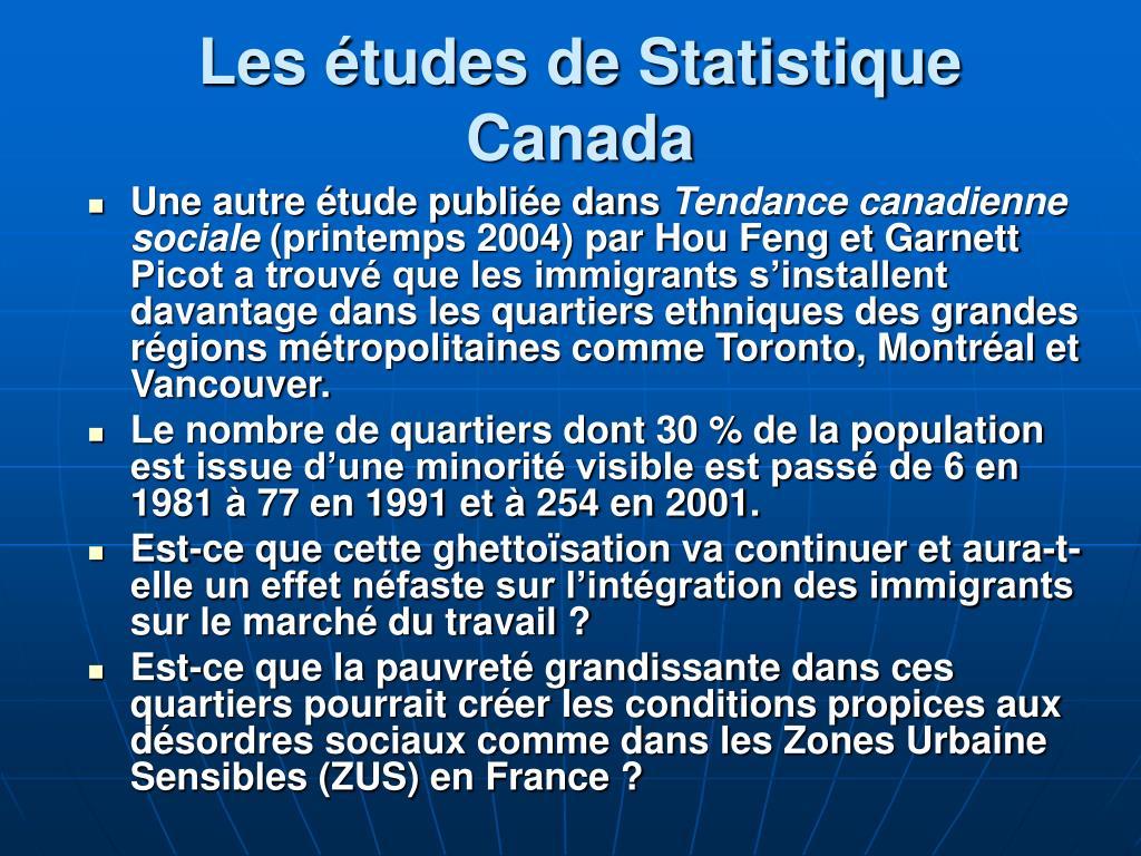 Les études de Statistique Canada