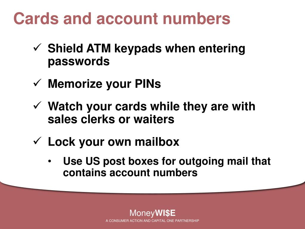 Cards and account numbers