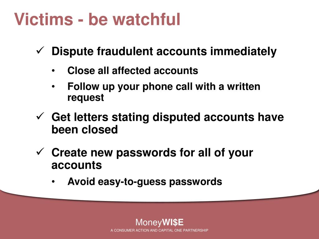 Victims - be watchful