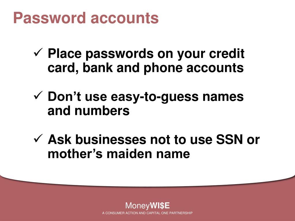 Password accounts
