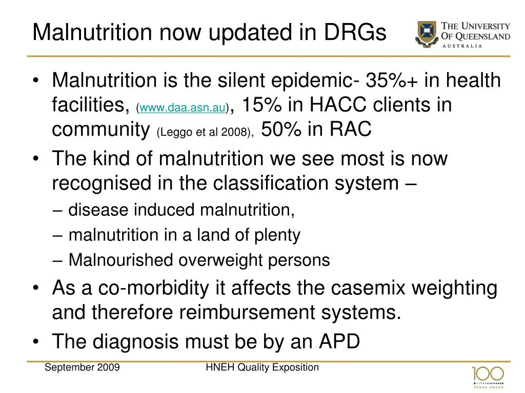 Malnutrition now updated in DRGs