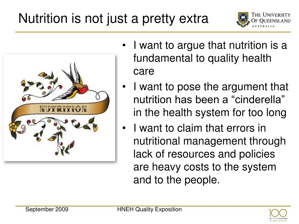 Nutrition is not just a pretty extra