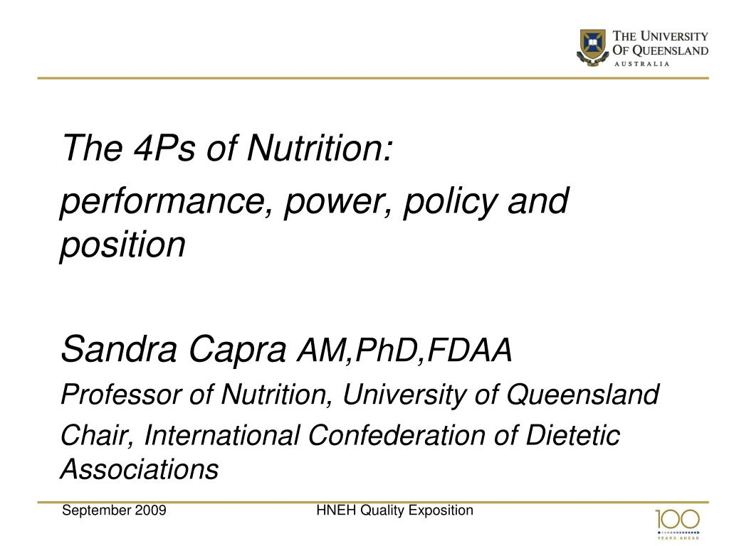 The 4Ps of Nutrition:
