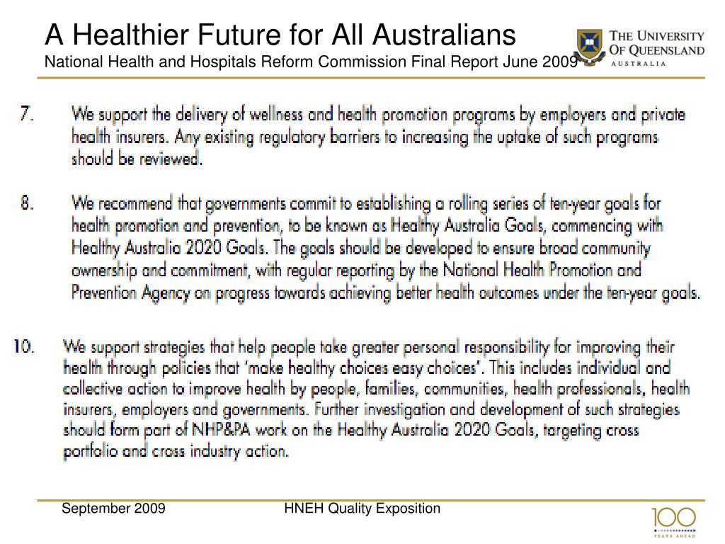 A Healthier Future for All Australians