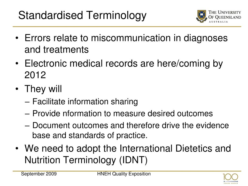 Standardised Terminology