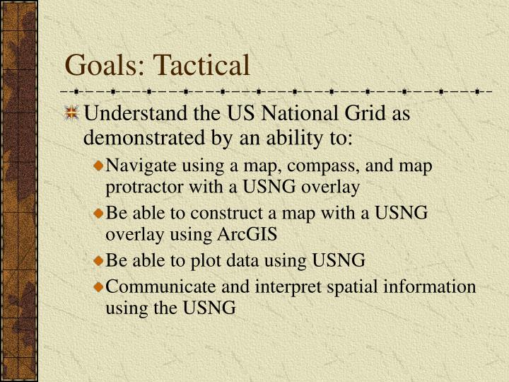 Goals: Tactical