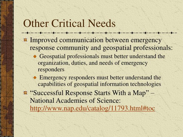 Other Critical Needs