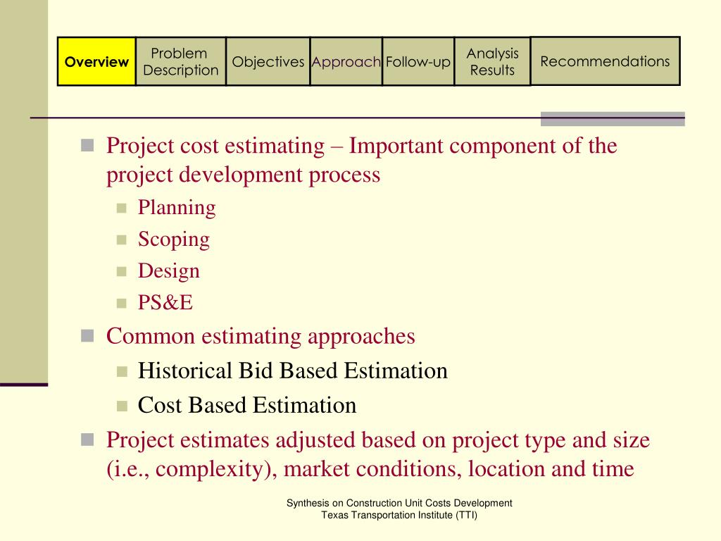 Project cost estimating – Important component of the project development process