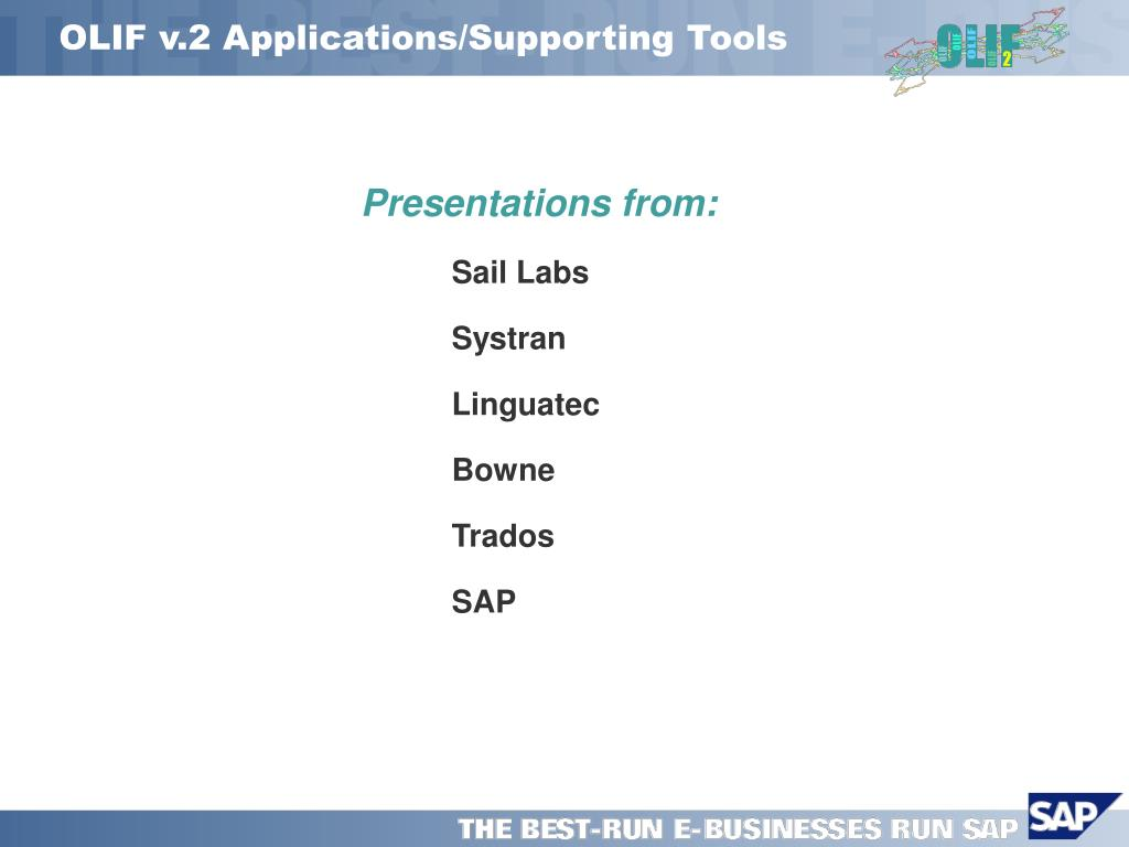 OLIF v.2 Applications/Supporting Tools
