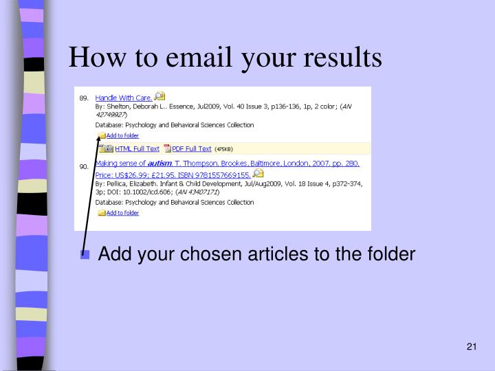 How to email your results