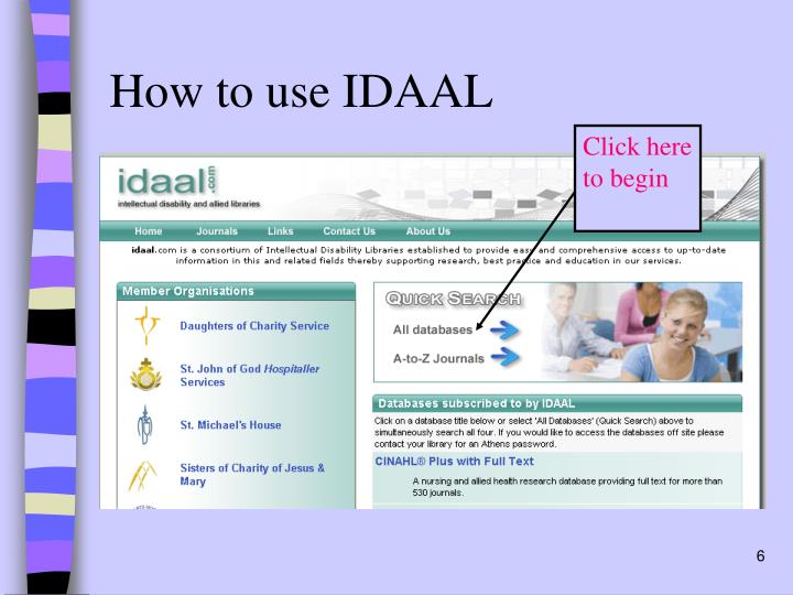 How to use IDAAL