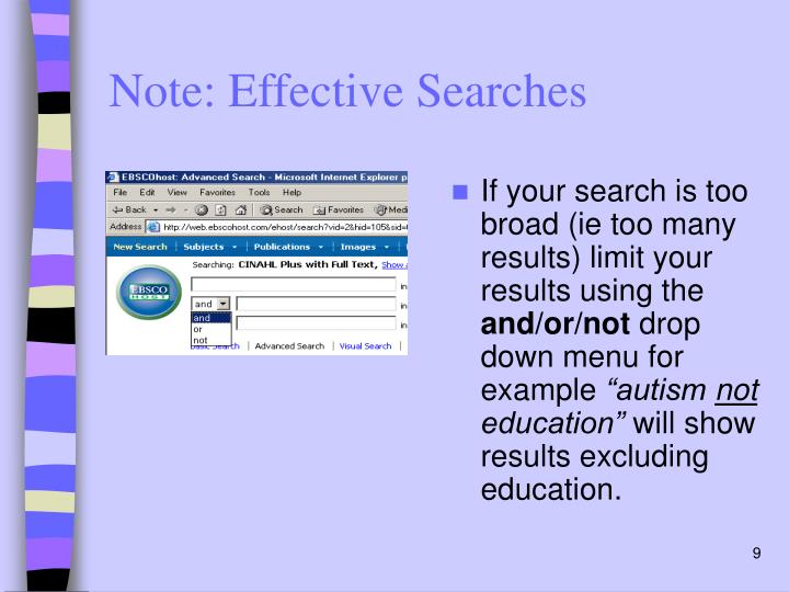 Note: Effective Searches