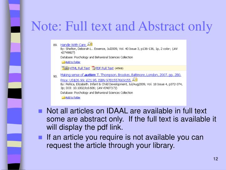 Note: Full text and Abstract only
