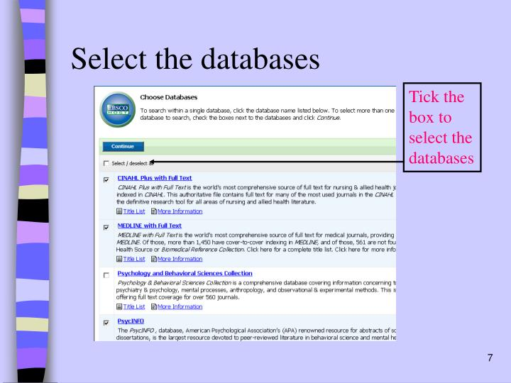 Select the databases