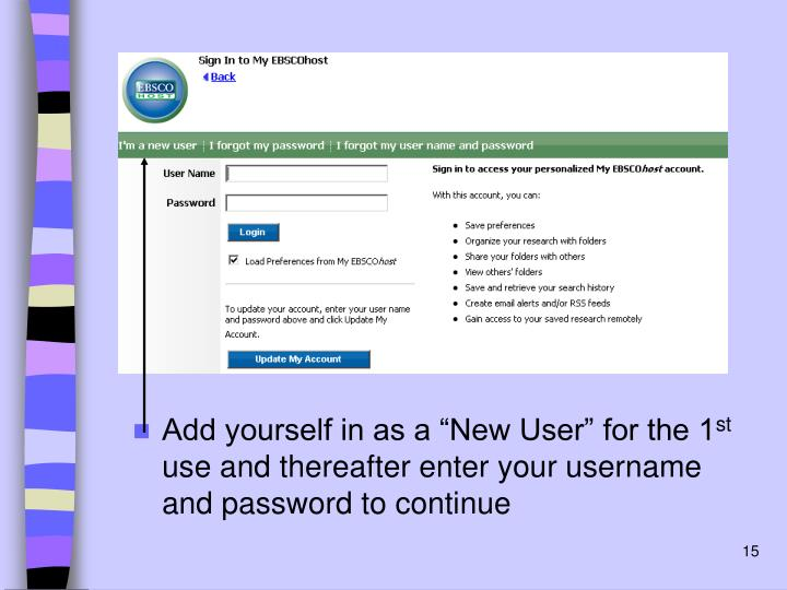 """Add yourself in as a """"New User"""" for the 1"""