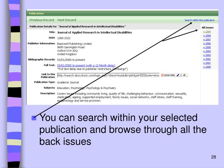 You can search within your selected publication and browse through all the back issues