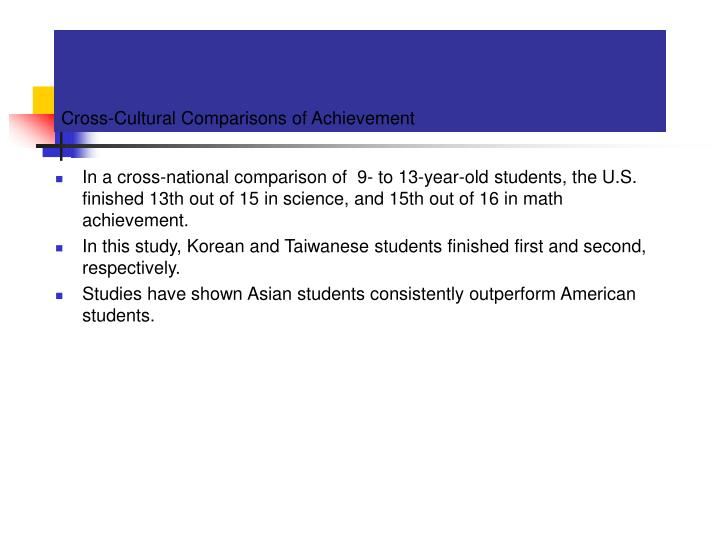 Cross-Cultural Comparisons of Achievement
