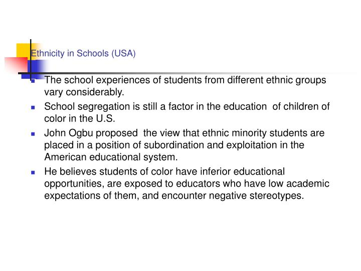 Ethnicity in Schools (USA)